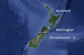 Auckland, Wellington, Christchurch